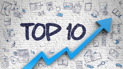 Top 10 Drawn on White Brickwall. 3d.