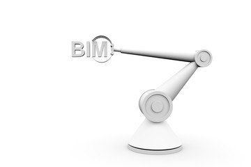 BIM in the form of a hand manipulator robot 3D illustration
