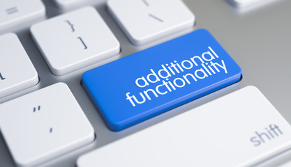 Additional Functionality - Inscription on Blue Keyboard Key. 3D.