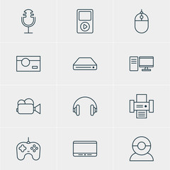 Vector Illustration Of 12 Hardware Icons. Editable Pack Of Sound Recording, Memory Storage, Headset And Other Elements.