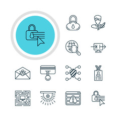 Vector Illustration Of 12 Privacy Icons. Editable Pack Of Send Information, Account Data, Safe Storage And Other Elements.