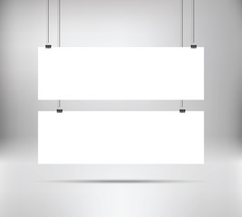 White poster mock up template hanging on binder. Two horizontal narrow paper banners. Vector illustration. Layout mockup. Grey wall with empty posters mockup.