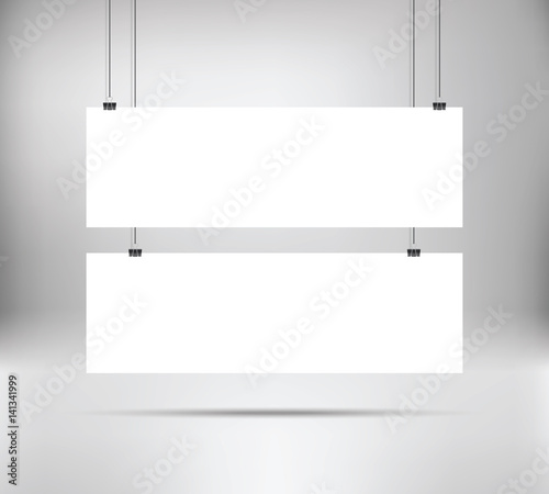 White poster mock up template hanging on binder two horizontal narrow paper banners vector