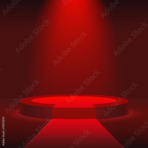 round stage podium illuminated with red light stage vector backdrop