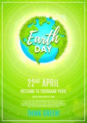 Green poster for celebrating Earth Day. Vector illustration with planet Earth with ground from grass and clouds around the planet.