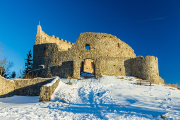 Eisenberg Castle Ruins in winter in the snow