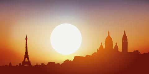 Paris - Sacrée Cœur - Tour Eiffel - Montmartre - Coucher de soleil
