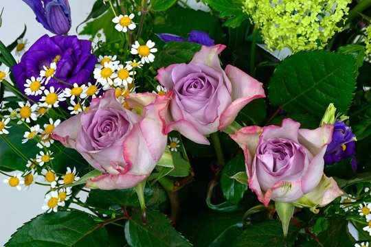 Bouquet of flowers with mauve roses.