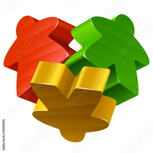 Vector Meeples In The Shape Of Heart Board Games Pieces Isolated On