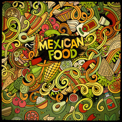 Cartoon mexican food doodles frame design