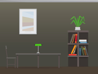 Library Interior with Bookshelves Flat Vector