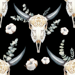 Watercolor bull skull seamless pattern. Boho chic style texture with buffalo head, cotton flowers and eucalyptus branches. Hand drawn wallpaper in tribal style: natural objects on black background.