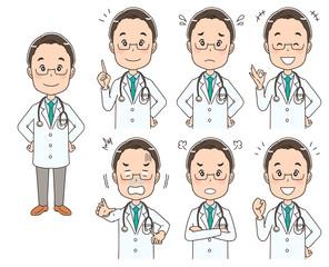 男性ドクターのイラスト(セット 全身)