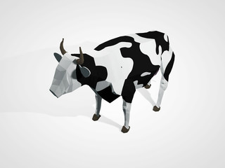 3D illustration of origami cow. Polygonal geometric style cow standing full-length Holstein black and white cow