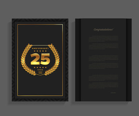 25th anniversary decorated greeting / invitation card template with logo.