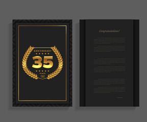 35th anniversary decorated greeting / invitation card template with logo.