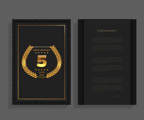 5th anniversary decorated greeting / invitation card template with logo.