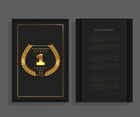 1st anniversary decorated greeting / invitation card template with logo.