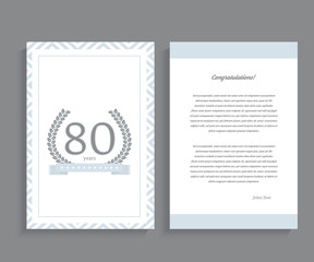 80th anniversary decorated greeting / invitation card template.