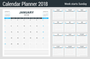 Calendar planner for 2018 year. Set of 12 months. Vector design template. Week starts on Sunday. Stationery design