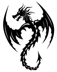 Tattoo tribal dragon. Tribal tattoos. Art tribal tattoo. Vector sketch of a tattoo.