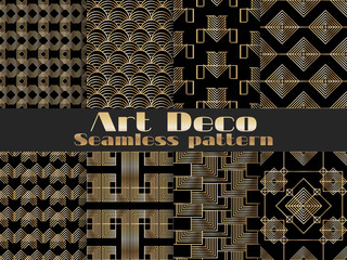 Art deco seamless pattern. Set retro backgrounds, gold and black color. Style 1920's, 1930's. Vector illustration.