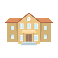 The main entrance of the institution . The school clock above the entrance.School And Education single icon in cartoon style vector symbol stock illustration.