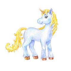Cute little blue unicorn watercolor