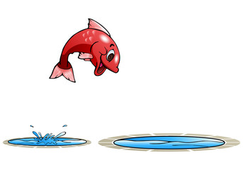 happy fish jump to other pool