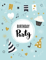 Birthday party invitation template, vector illustration