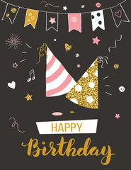 Happy birthday greeting card with party hats, invitation template, vector illustration