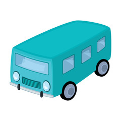Blue bus for the transportation of a small number of people around the city and the village.Transport single icon in cartoon style vector symbol stock illustration.