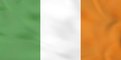 Ireland waving flag. Ireland national flag background texture.