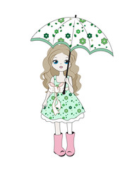girl with an umbrella and a dog