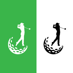 Golfer and golf ball logo graphic design