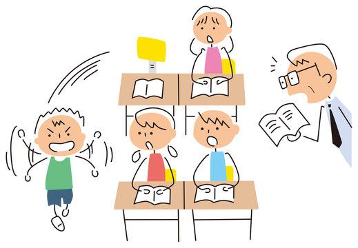 授業中に歩き出す子供