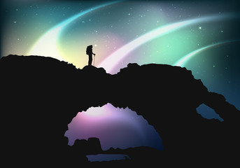 Northern lights in Norway the mountains silhouette of man vector Illustration