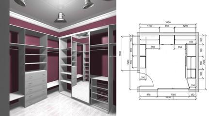 wardrobe room, dressing room