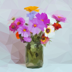 Flowers Bouquet in a Green Transparent Glass Jar, Low Poly. Vector