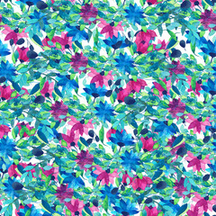 Tropical flowers and leaves . Pattern seamless .