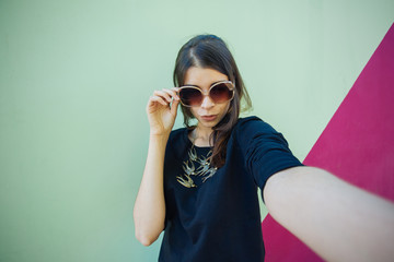 Very beautiful girl student doing selfie instagram for Europe