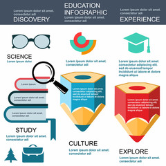 Infographic Education, vector, flat design, elements