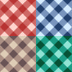 Set checkered seamless diagonal background
