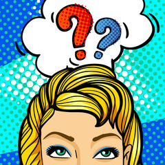 Question sing. Woman face in pop art style.
