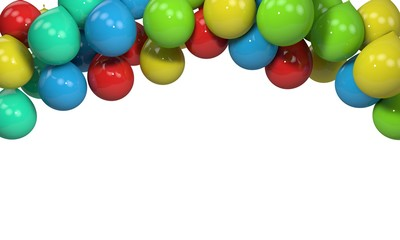 Background of colored balloons frame, 3d render