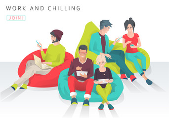 Young people sit on bean bag with different gadgets and exchange ideas. Discussion and chilling. Modern flat vector illustration