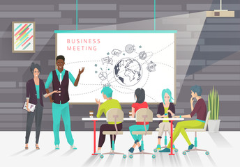 Concept of business presentation. Conference.  Exchange ideas and experience. Collaboration and discussion. Multicultural team. Vector illustration