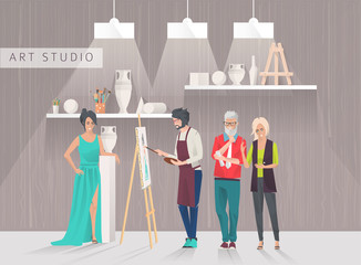 Art studio concept. Students study to draw sitter and paintings in art room. Workshop. Art critics. Vector flat creative illustration.