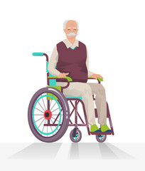 Concept of  person disability. Senior disabled man in wheelchair isolated on white background. Vector flat illustration.