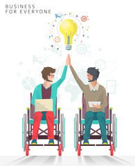 Concept of partnership between disabled people.